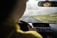 Ansicht an der isländischen Landschaft aus Auto heraus Stockfoto