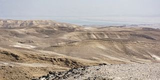 Ansicht der Judaean-Wüste und des Toten Meers von Arad Israel stockbild