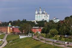 Ansicht der Kathedrale in Smolensk, Russland 2. Juni 2016 Stockfotografie