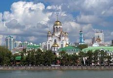Ansicht der Kirche auf Blut in Yekaterinburg Lizenzfreie Stockfotografie