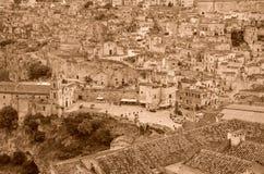 Ansicht der Kirche in der Stadt von Matera, Italien Stockfotografie