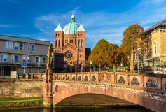 Ansicht der Kirche Heilig-Pierre-Le-Jeune in Straßburg Lizenzfreie Stockfotos