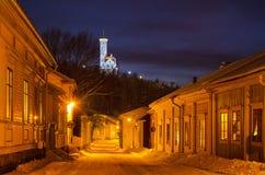 Ansicht der kleinen schwedischen Stadt Lizenzfreie Stockfotos