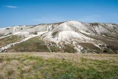 Ansicht der Kreideberge im Don River-Tal, Donskoy-Park Stockfotos