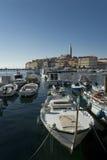 Ansicht an der kroatischen Stadt Rovinj (Rovigno) Stockfoto