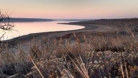 Ansicht der Kuyalnik-Mündung vom Hügel bei Sonnenuntergang stockfotos