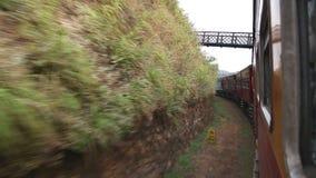 Ansicht der Landschaft und des beweglichen Zugs vom Fenster eines Passagiers an Bord stock video