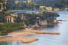 Ansicht der Luxus-Erholungsortes und Bucht Villefranche Taubenschlag d Stockbild