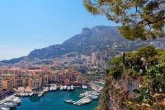 Ansicht der Luxusyachten im Hafen von Monaco. Stockfotos