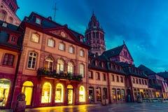 Ansicht der Mainz-Kathedrale und Markt quadrieren Stockfotografie