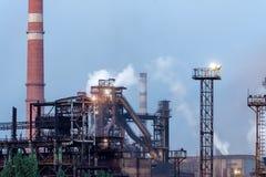 Ansicht der metallurgischen Anlage Fertigung des Roheisens und des Stahls Stockfotografie