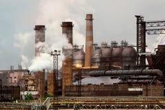 Ansicht der metallurgischen Anlage Fertigung des Roheisens und des Stahls Lizenzfreies Stockfoto