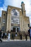 Ansicht an der Moschee nach Jeremy Corbyn-Besuch lizenzfreie stockfotos