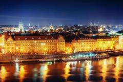Ansicht der Nacht Prag, Tschechische Republik Stockfotografie