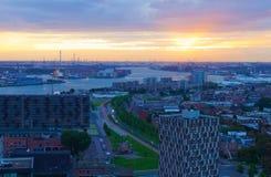 Ansicht der Nacht Rotterdam lizenzfreies stockfoto