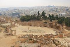 Ansicht der ovalen Piazzas in Jarash Lizenzfreies Stockfoto