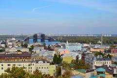 Ansicht der Podil-Nachbarschaft in Kyiv, Ukraine Stockfotografie