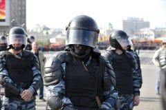 Ansicht der Polizei auf Protest in Moskau Stockfotografie