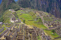 Ansicht der Ruinen bei Machu Picchu, Peru lizenzfreie stockfotos