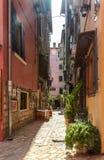 Ansicht der schmalen Straße mit grober Steinpflasterung Stockfotografie