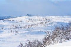 Ansicht der schneebedeckten Landschaft in Beitostolen Stockfotos