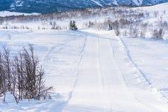 Ansicht der schneebedeckten Landschaft in Beitostolen Lizenzfreie Stockfotos