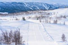 Ansicht der schneebedeckten Landschaft in Beitostolen Stockbild