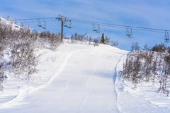 Ansicht der schneebedeckten Landschaft in Beitostolen Lizenzfreie Stockbilder