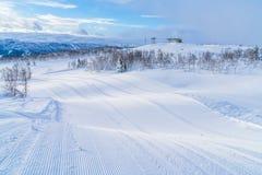 Ansicht der schneebedeckten Landschaft in Beitostolen Lizenzfreies Stockfoto
