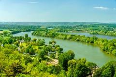 Ansicht der Seines am Chateau Gaillard in Normandie, Frankreich stockbilder