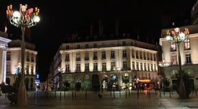 Ansicht der späten Glättung des schönen Graslin-Quadrats, Nantes, Frankreich lizenzfreie stockfotografie