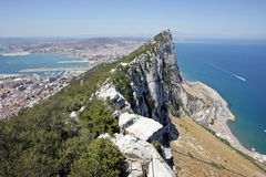 Ansicht der Spitze des Felsens von Gibraltar Stockfotos