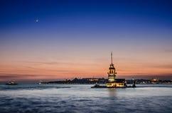Ansicht der Stadt des Mädchens in Istanbul Stockbilder