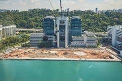 Ansicht der Stadt gesehen von der Singapur-Drahtseilbahn stockfotografie