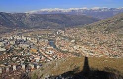 Ansicht der Stadt Mostar von Hügel Summen Stockbilder