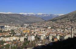 Ansicht der Stadt Mostar von Hügel Summen Stockfoto