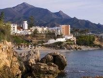 Ansicht der Stadt von Nerja Spanien Stockbild