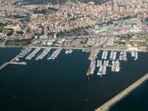 Ansicht der Stadt vom Himmel Sardinien, Cagliari Schönheit der Natur stockbild
