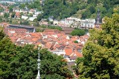 Ansicht der Stadt vom Südeingang des alten Heidelberg-Schlosses in Deutschland Lizenzfreie Stockfotos