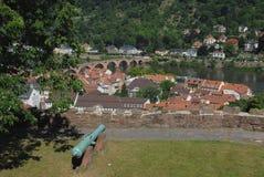 Ansicht der Stadt vom Schloss von Heidelberg in Deutschland Lizenzfreie Stockfotos