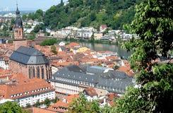Ansicht der Stadt vom Weg, der zu das Schloss von Heidelberg, Deutschland führt Stockfoto