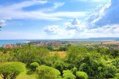 Ansicht der Stadt von Burgas stockfotos