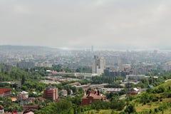 Ansicht der Stadt von einem Vogel ` s Flug Stockfotografie