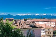 Ansicht der Stadt von Fossano, Piemont, Italien Lizenzfreie Stockfotos