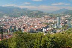 Ansicht der Stadt von oben Bilbao, Spanien Stockbilder