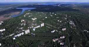 Ansicht der Stadt von Pripyat und von Fluss des gleichen Namens Stockfotos