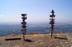 Ansicht der Stadt von Pyatigorsk von der Spitze Mashuk-Berges, Stavropol-Gebiet, Russland Stockbild