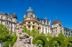 Ansicht der Statue Aurore in Lausanne Stockfotografie