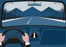 Ansicht der Straße von der Autoinnenraumillustration Lizenzfreies Stockbild