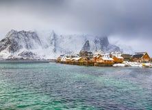 Ansicht der szenischen Lofoten-Insel-Archipel-Frühlings-Landschaft stockbild